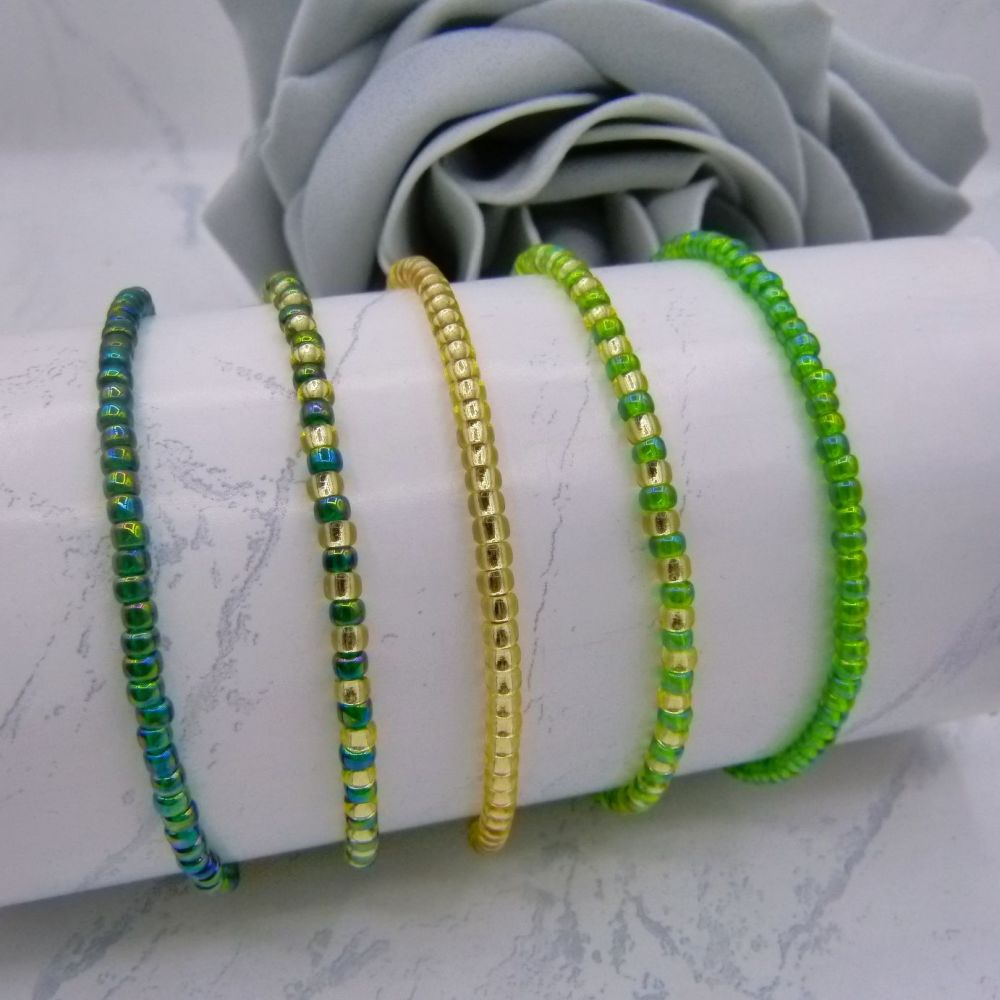 Green Seed Bead Stacking Bracelet Set (Gold)