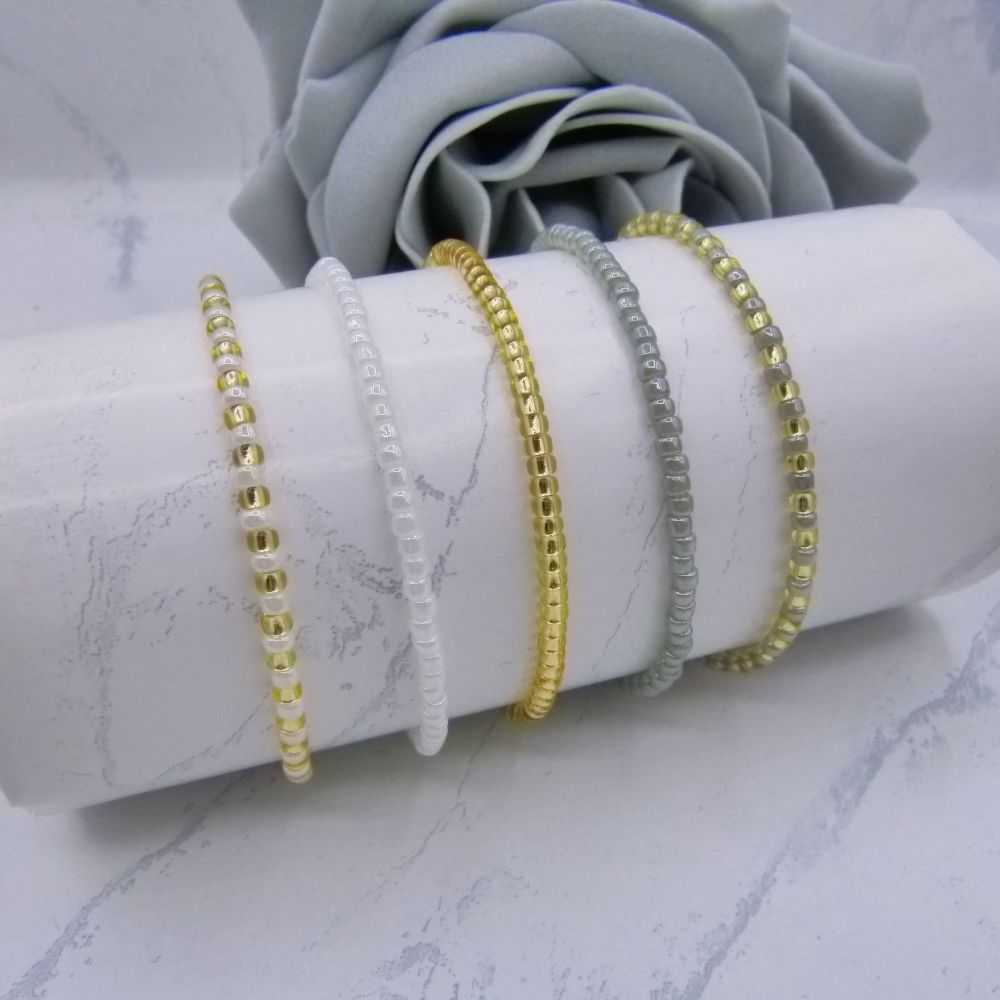 Monochrome Seed Bead Stacking Bracelet Set (Gold)