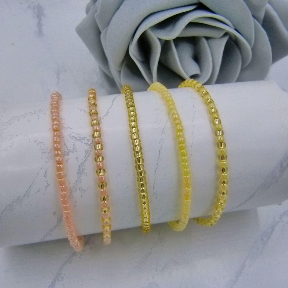 Apricot, Yellow & Gold Seed Bead Bracelets x 5