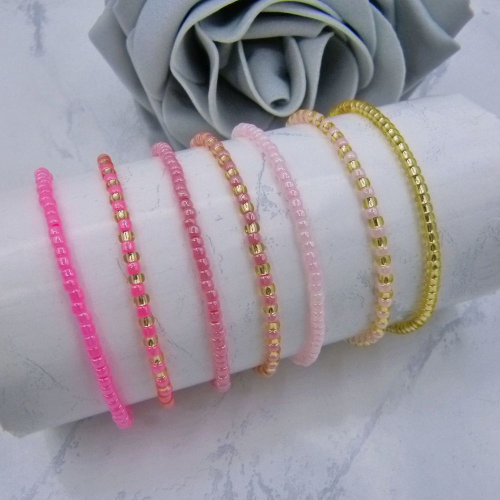 Pink Seed Bead Stacking Bracelet Set (Gold)