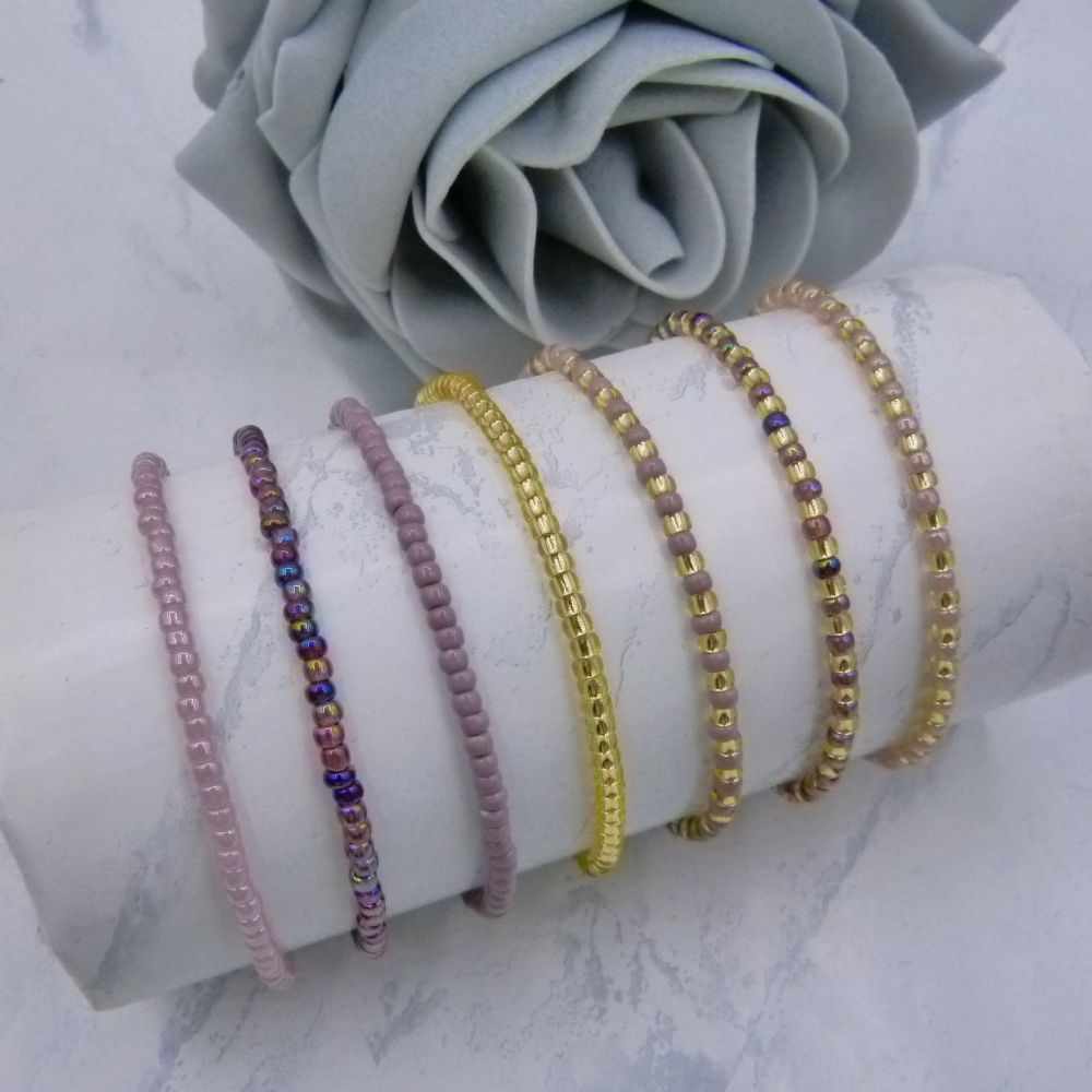 Purple Seed Bead Stacking Bracelet Set (Gold)