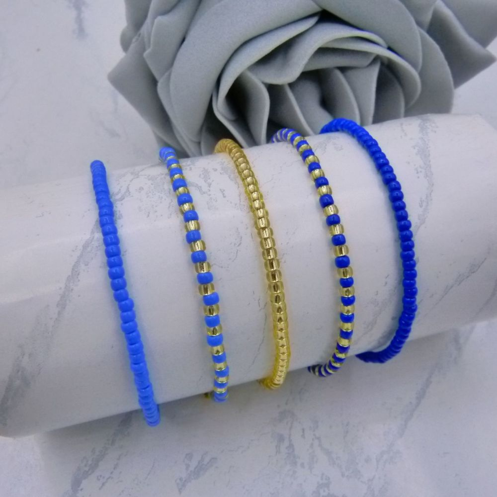 Blue & Gold Seed Bead Bracelets x 5