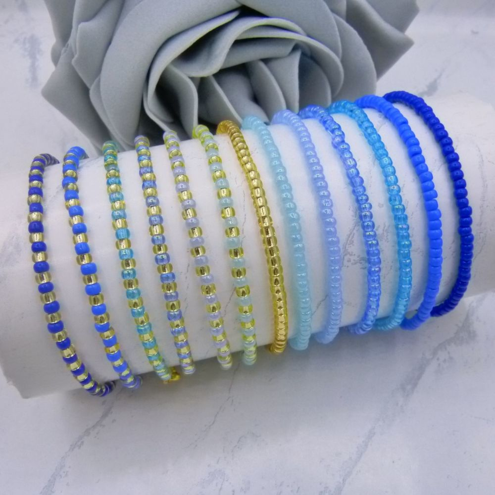 ALL Blue & Gold Seed Bead Bracelets x 13