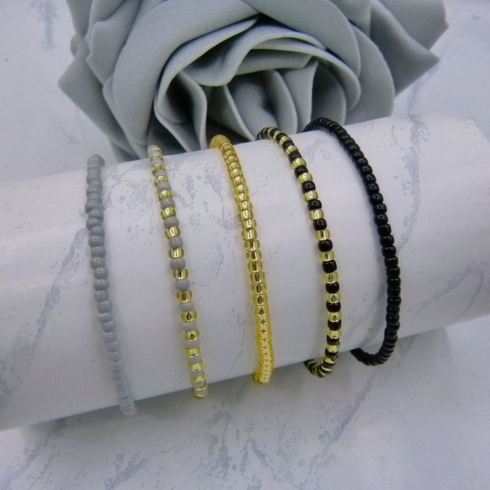 Black & Grey Seed Bead Bracelets x 5 (Gold)