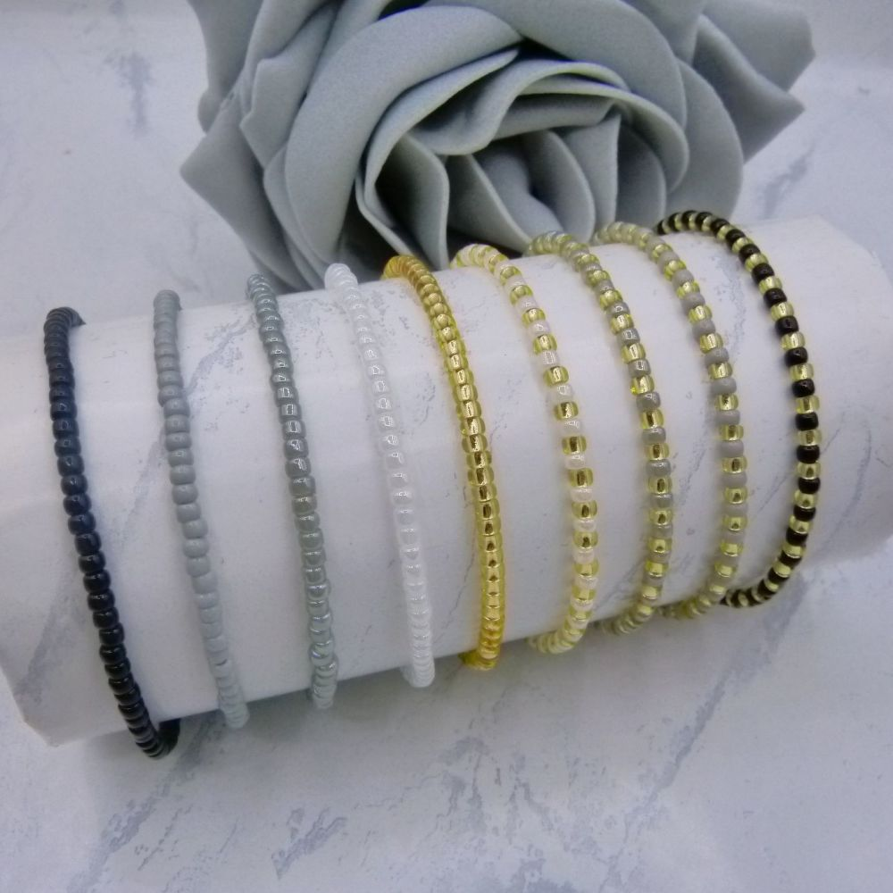 Monochrome Seed Bead Bracelet Set x 9 (Gold)