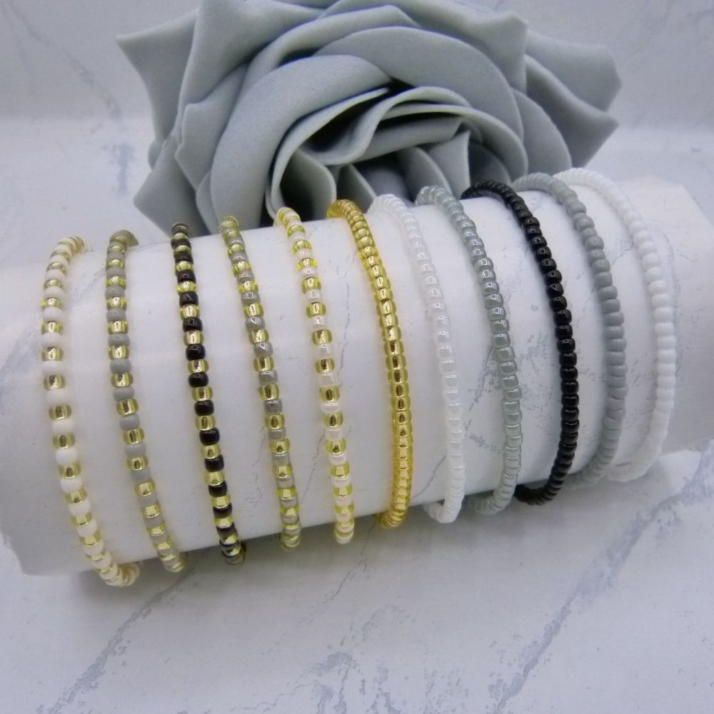 Full Monochrome Seed Bead Bracelets x 11 (Gold)
