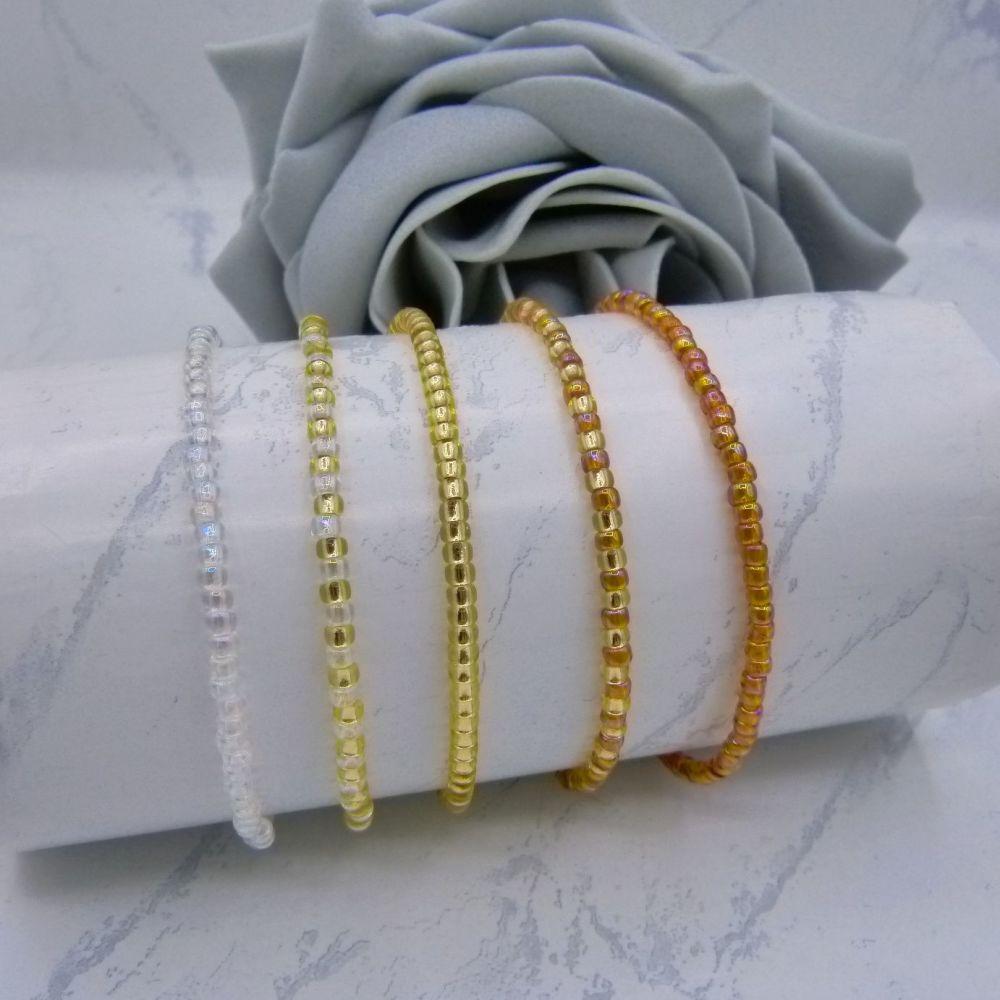 Rainbow Topaz Seed Bead Bracelet Set (Gold) x 5