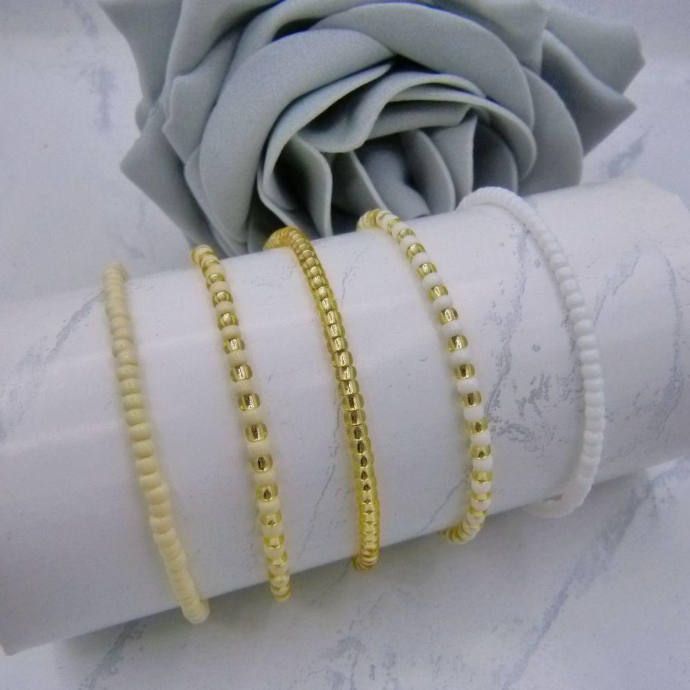 Ivory & White Seed Bead Bracelets x 5 (Gold)
