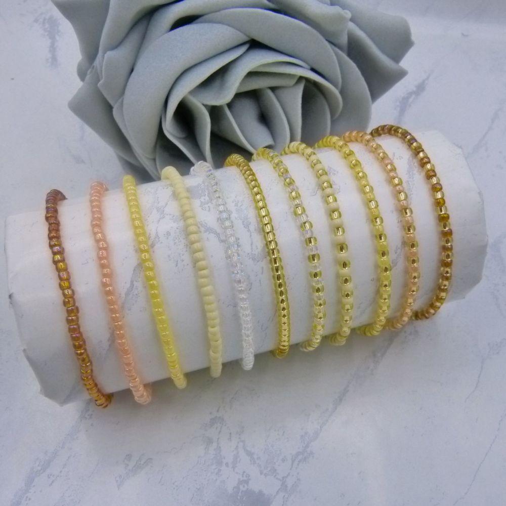 Naturals FULL Set Seed Bead Bracelets x 11 (Gold)