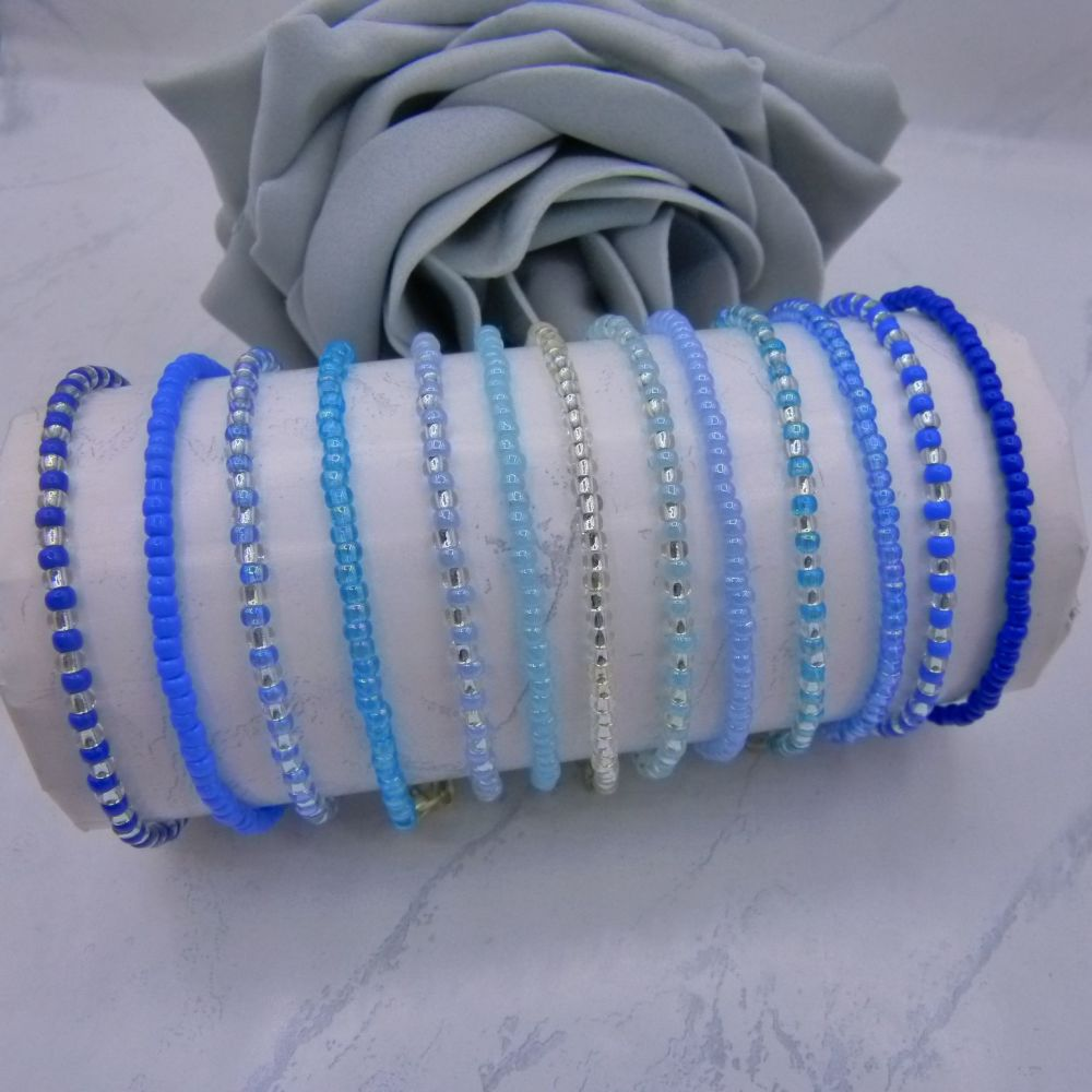 ALL Blue & Silver Seed Bead Bracelets x 13