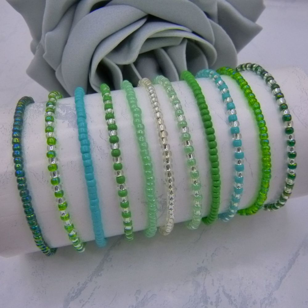 ALL Green & Silver Seed Bead Bracelets x 11