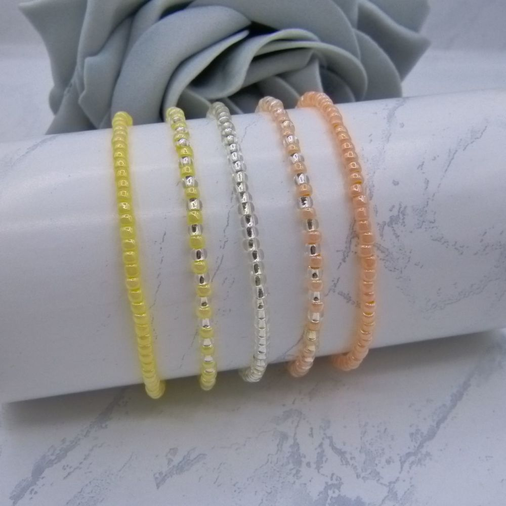 Apricot, Yellow & Silver Seed Bead Bracelets x 5