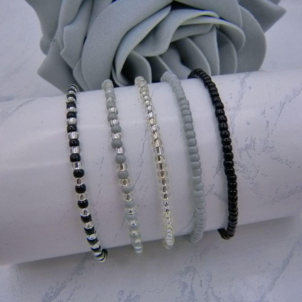 Black & Grey Seed Bead Bracelets x 5 (Silver)