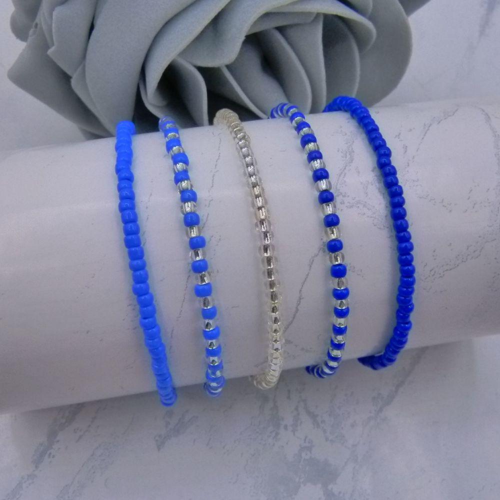 Blue & Silver Seed Bead Bracelets x 5