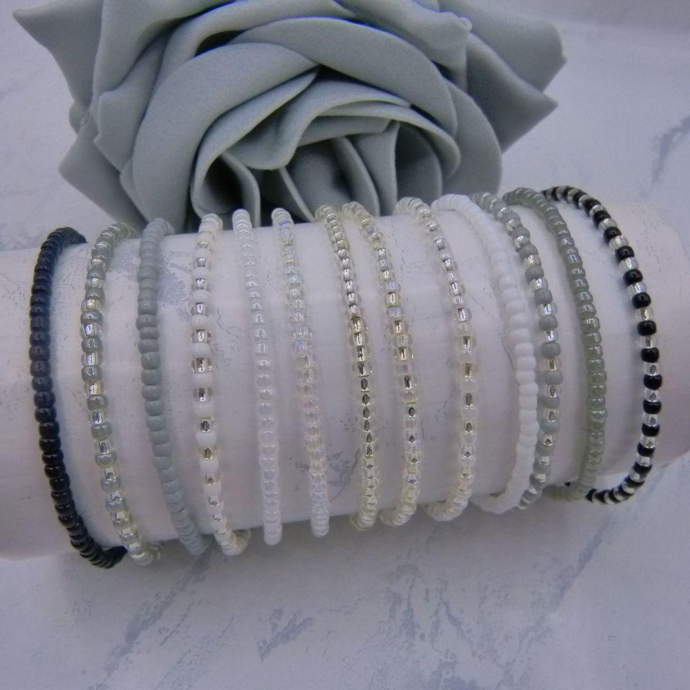 Full Monochrome Seed Bead Bracelets x 11 (Silver)