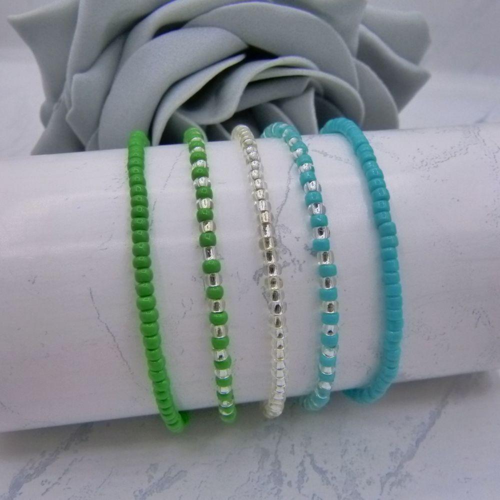Green & Silver Seed Bead Bracelet Set x 5
