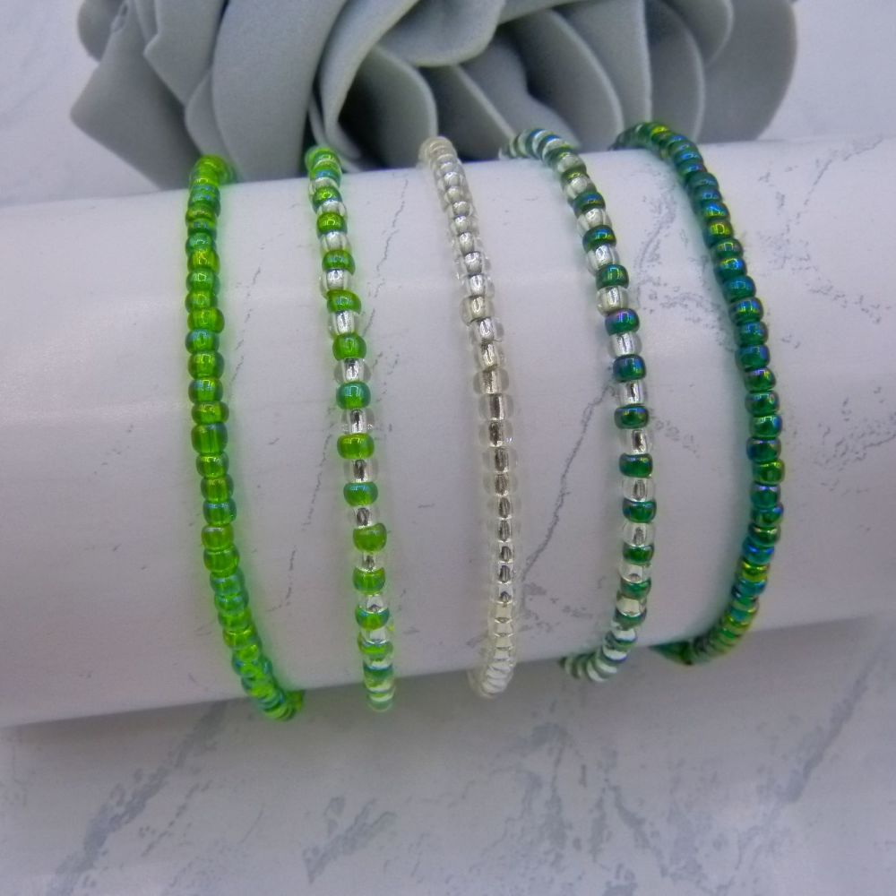 Green Rainbow & Silver Seed Bead Bracelets x 5