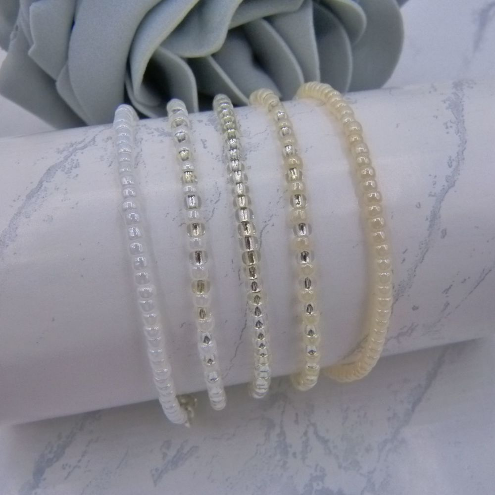 Ivory & White Seed Bead Bracelets x 5 (Silver)