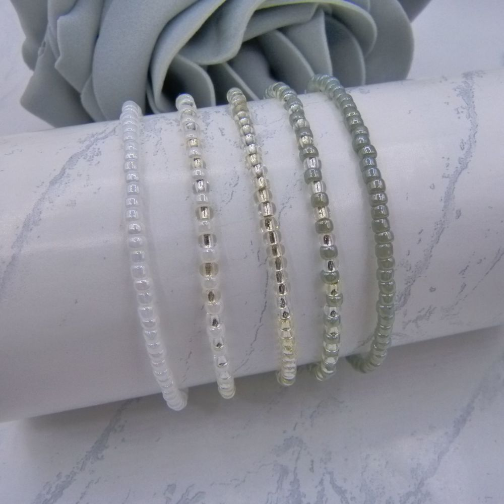 Pearlised Grey & White Seed Bead Bracelets (Silver) x 5
