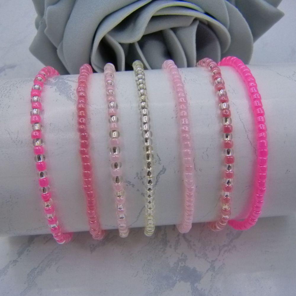 Pink Seed Bead Stacking Bracelet Set (Silver) x7