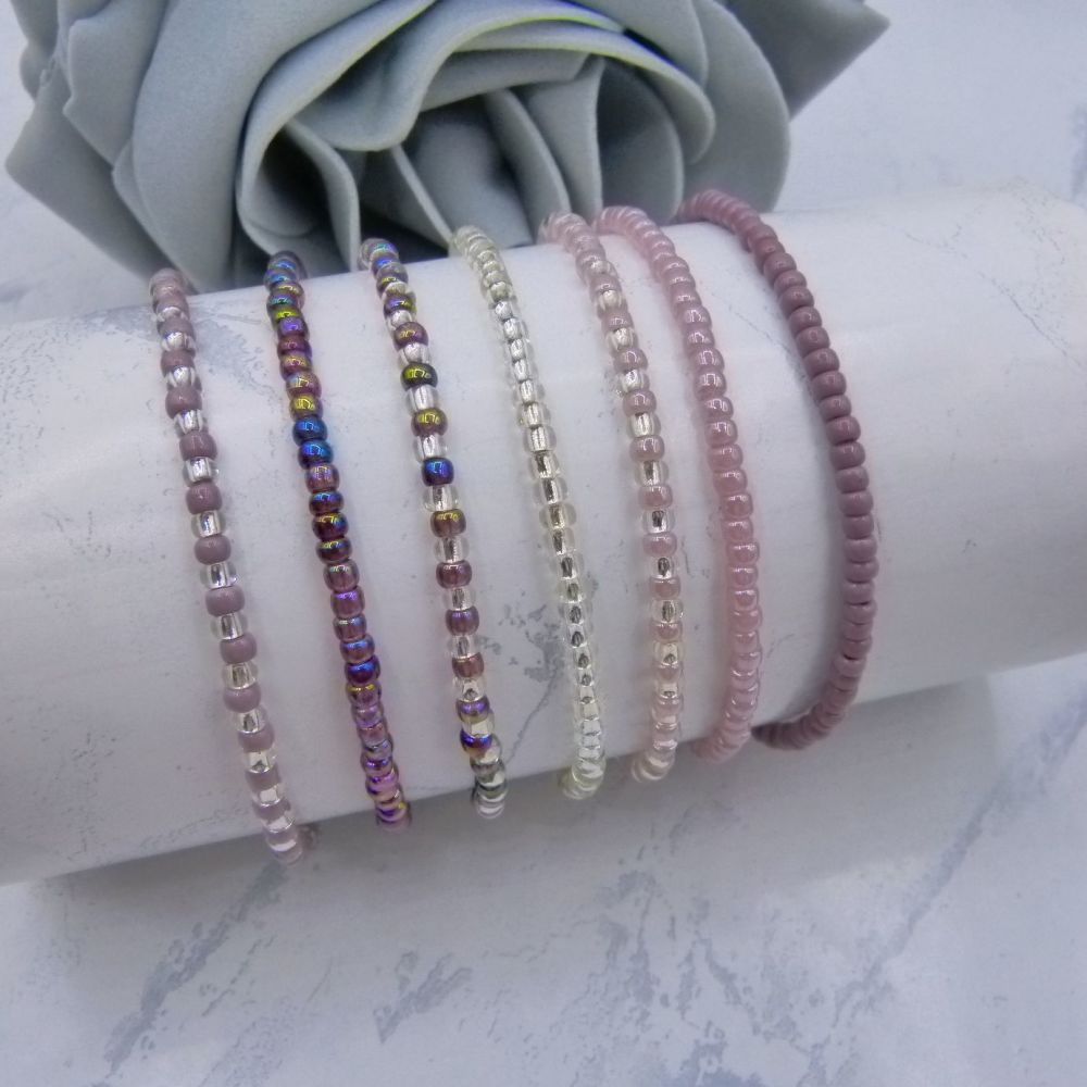 Purple Seed Bead Stacking Bracelet Set (Silver) x 7