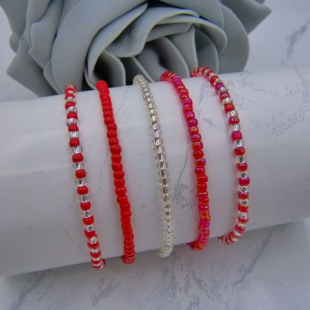 Red & Silver Seed Bead Bracelets x 5