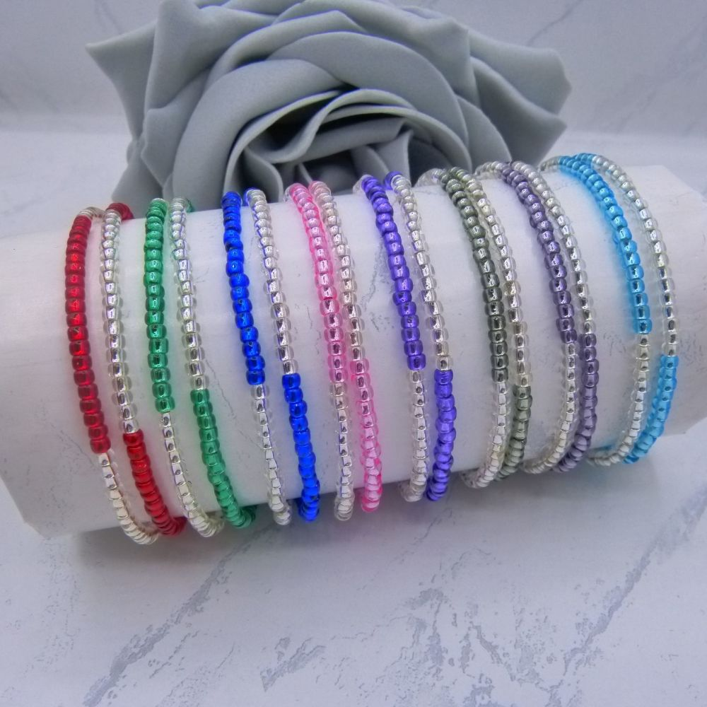 Silver Lined Seed Bead Bracelets Set of 2
