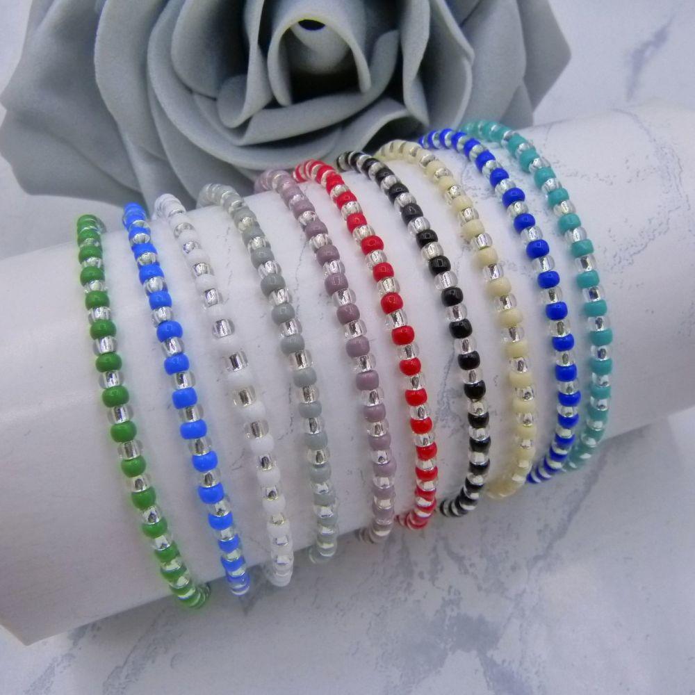 Opaque Stripe Seed Bead Bracelets (Silver)