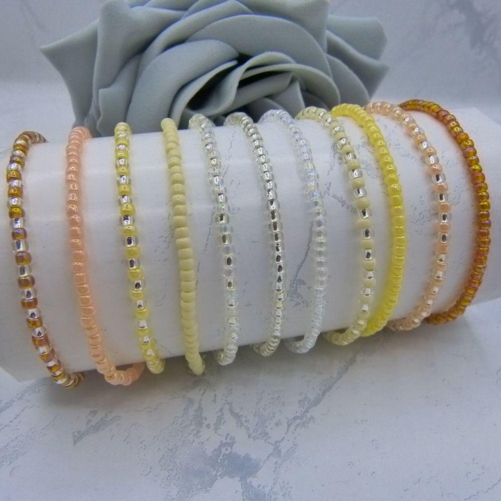 Naturals FULL Set Seed Bead Bracelets x 11 (Silver)