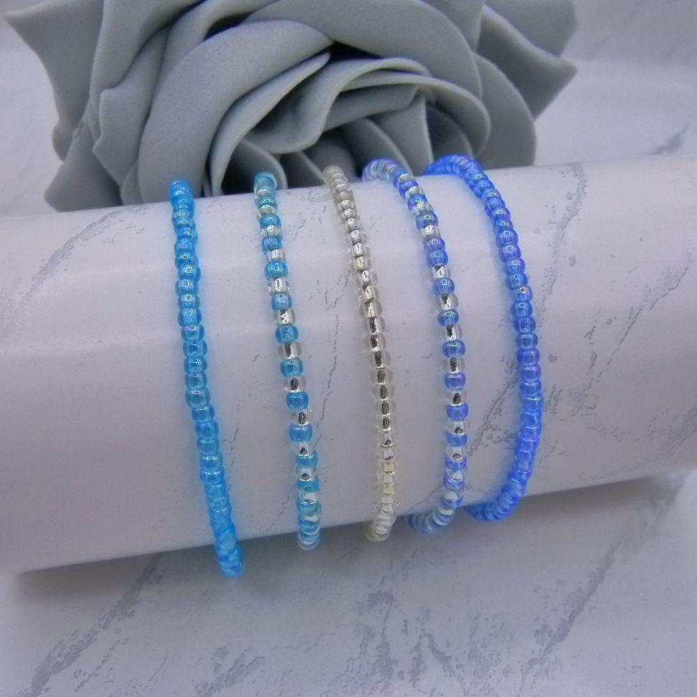 Rainbow Blue & Silver Seed Bead Bracelets x 5