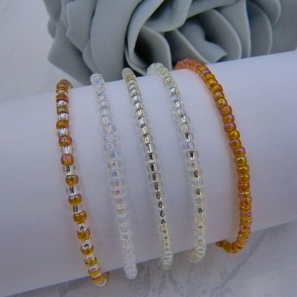 Rainbow Topaz Seed Bead Bracelet Set (Silver) x 5