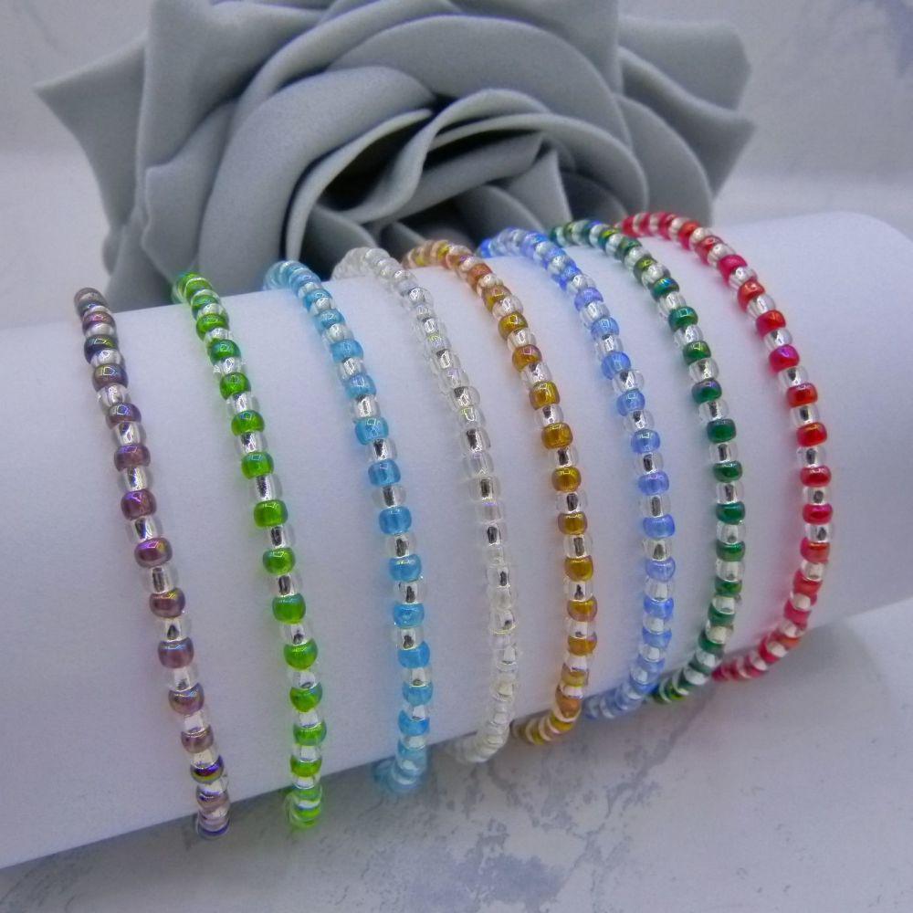 Rainbow AB Stripe Seed Bead Bracelets (Silver)