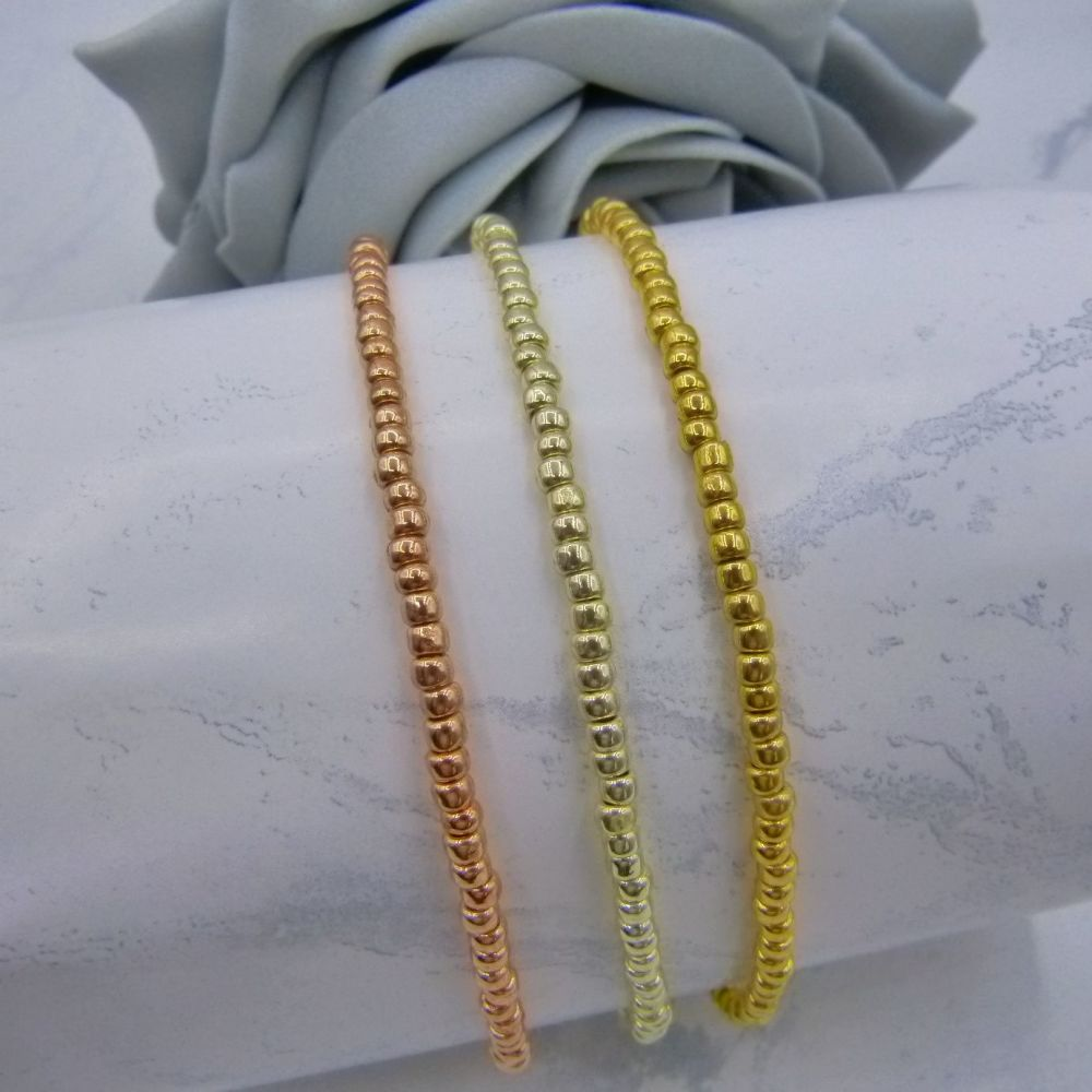 Triple Metallic Seed Bead Anklets