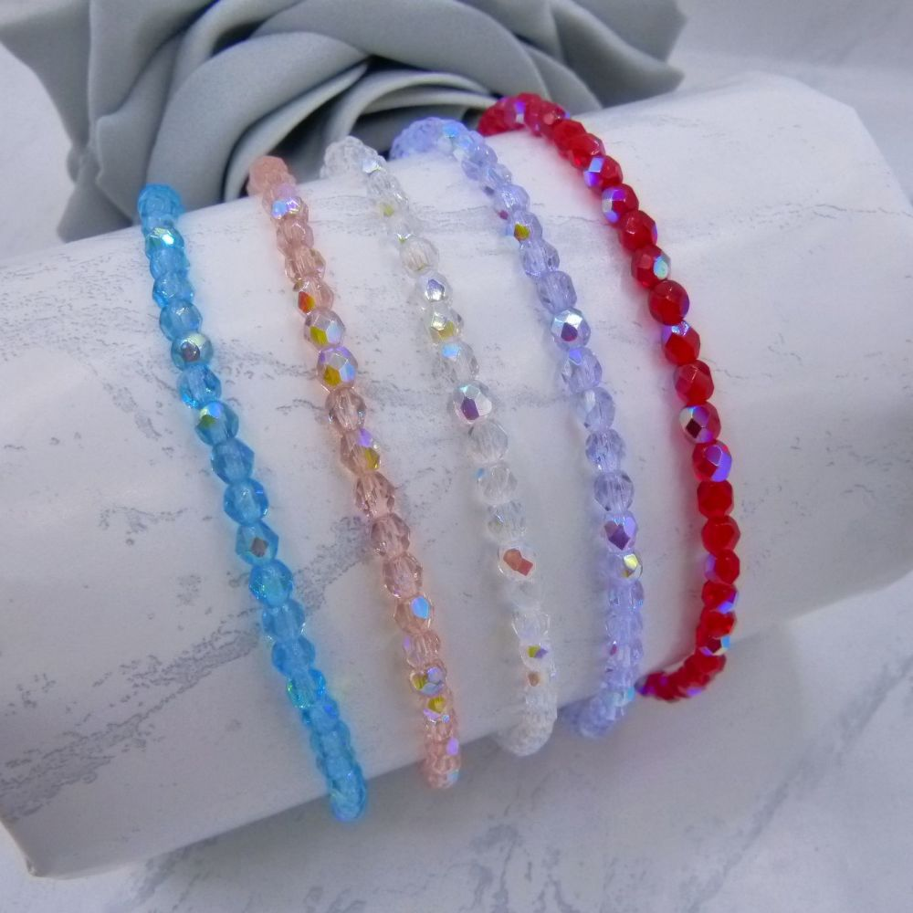 Aurora Borealis Coloured Anklets