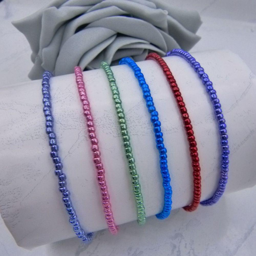 Metallic Seed Bead Anklets