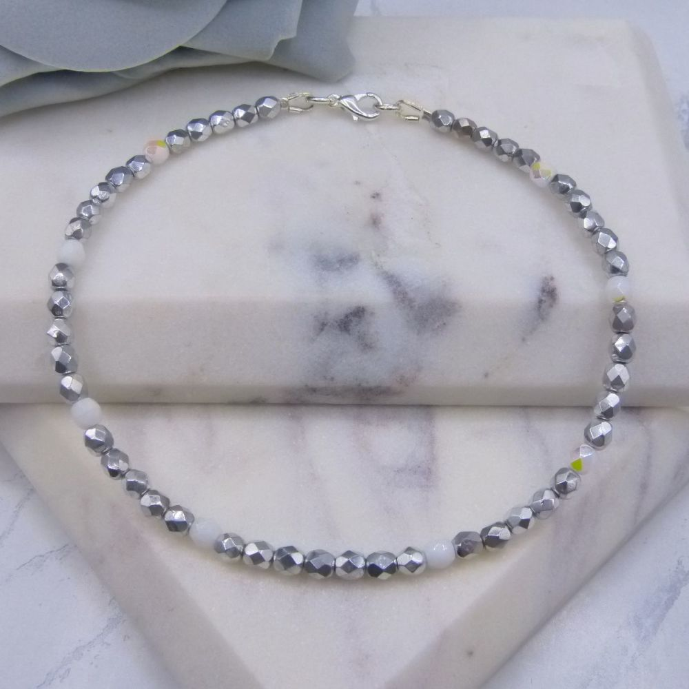 Silver & White Anklet