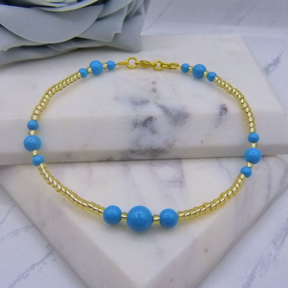 Turquoise Pearl & Gold Seed Bead Anklet