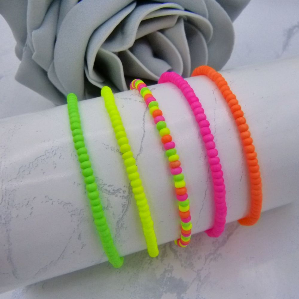5 Neon Seed Bead Stacking Bracelets
