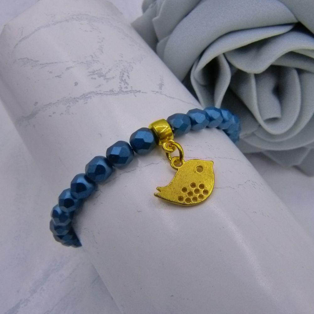 Gold Bird Charm Bracelet
