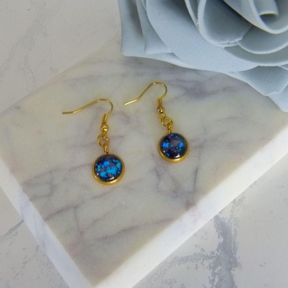 Gold Blue Glitter Earrings