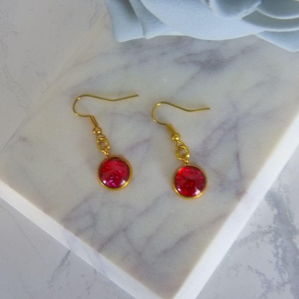 Silver Red Glitter Earrings