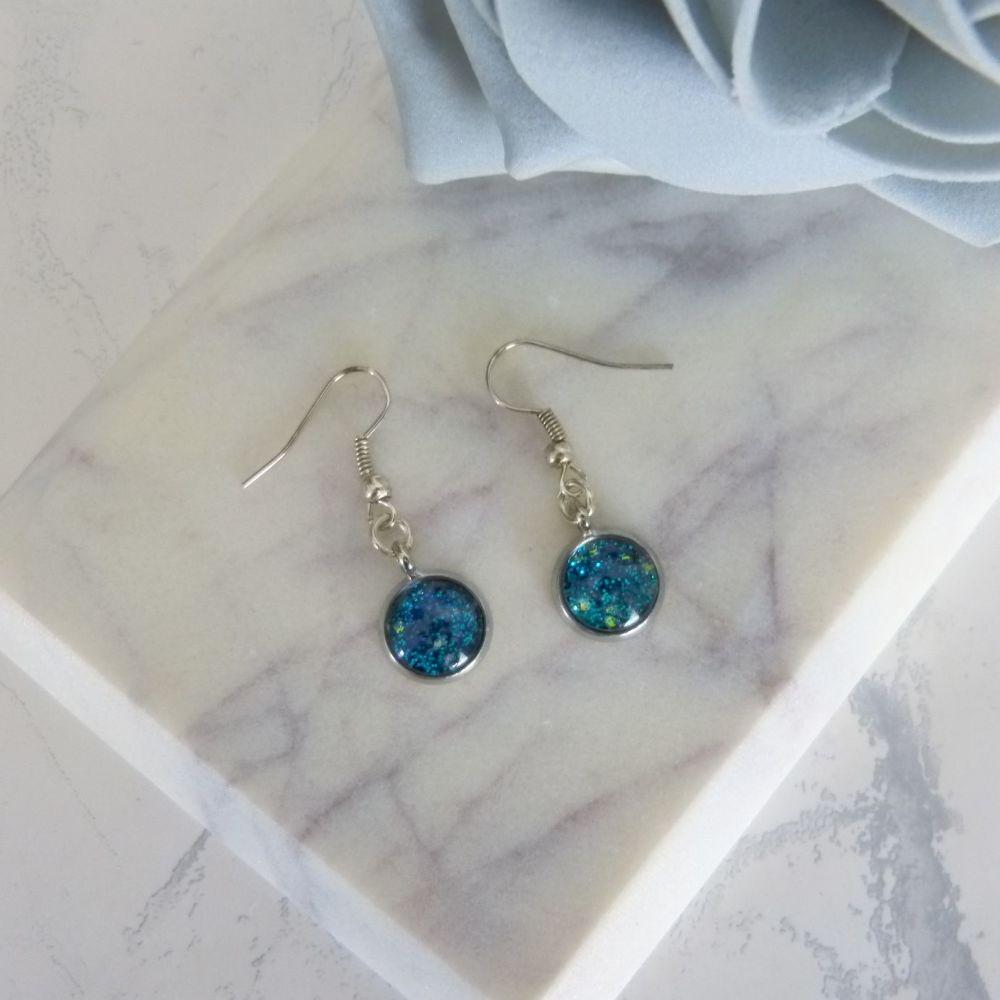Silver Turquoise Glitter Earrings