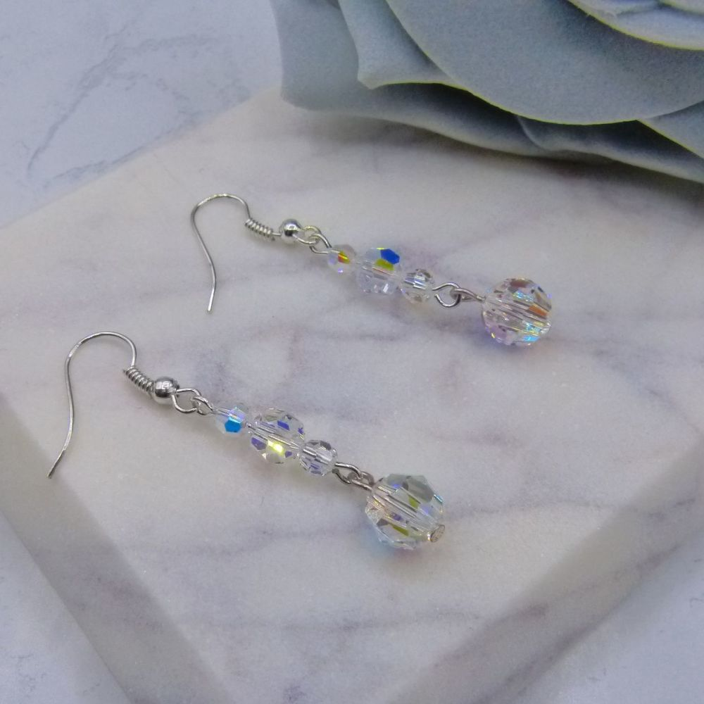 Swarovski Crystal drop bridal earrings uk