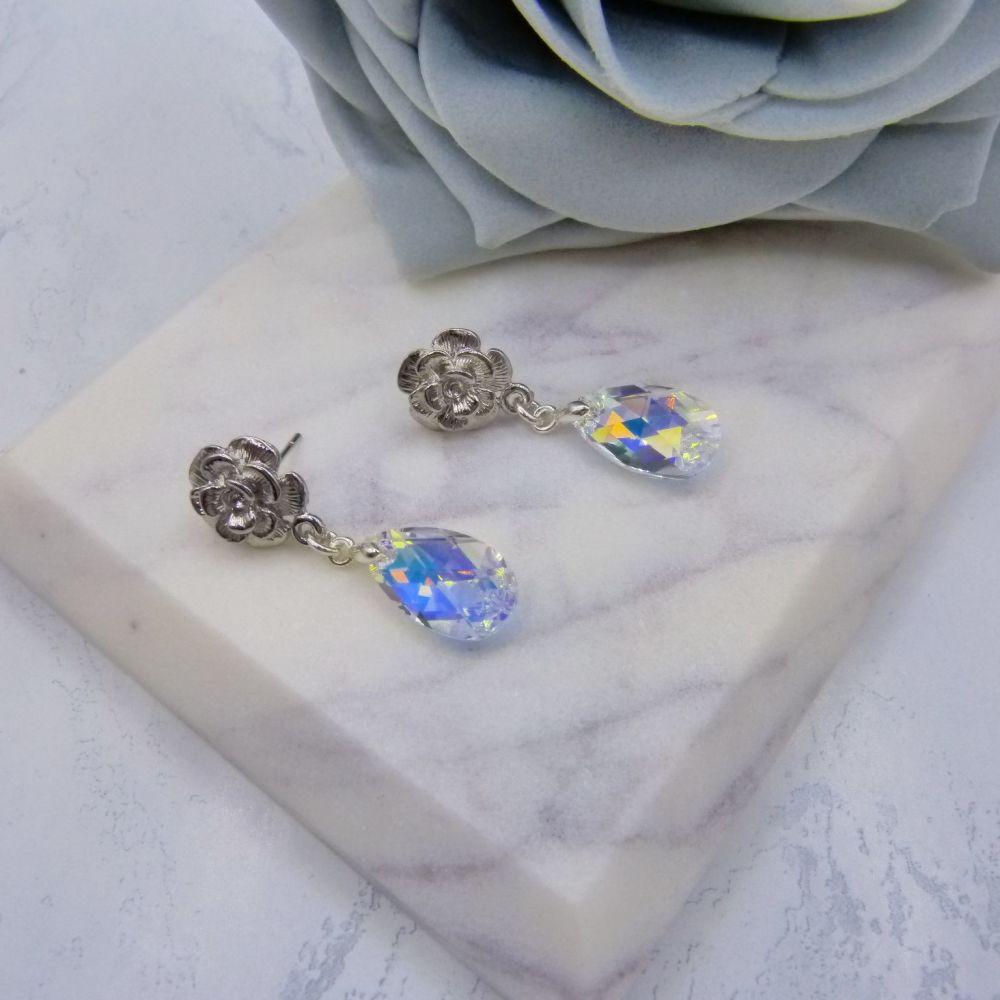 handmade swarovski pear drop silver rose stud bridal wedding earrings uk