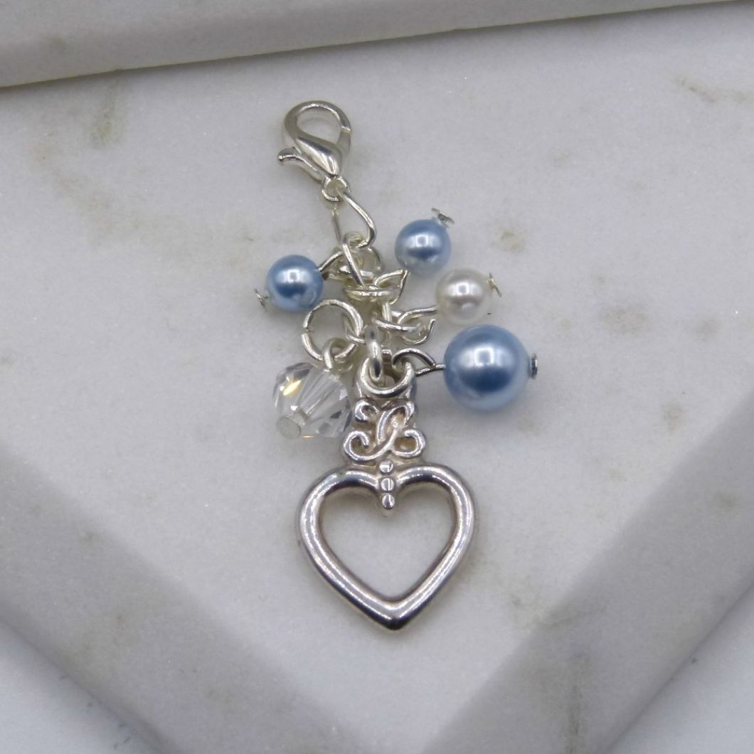 Something Blue Crystal & Light Blue Pearl Cluster Bouquet/Garter Charm