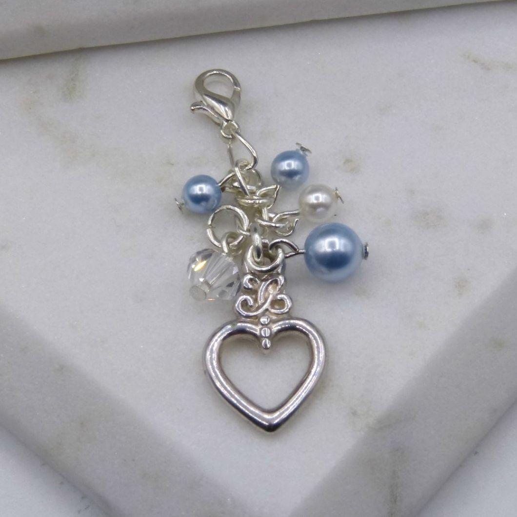 Something Blue Crystal & Light Blue Pearl Cluster Bouquet/Garter Charm
