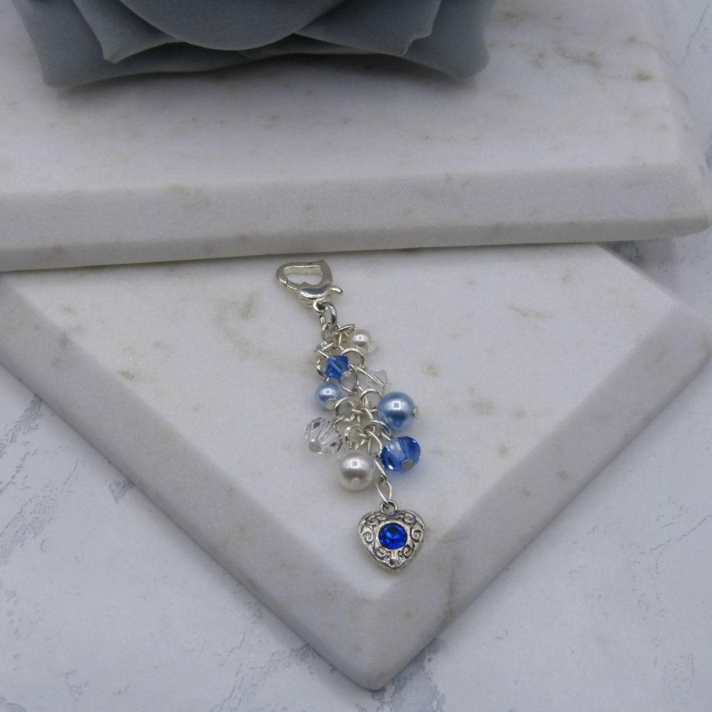 Something Blue Crystal & Pearl Cluster Bouquet/Garter Charm