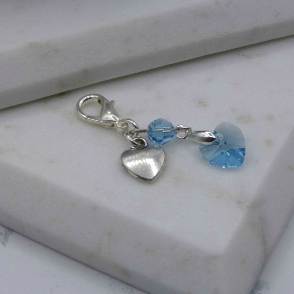 Something Blue Crystal & Silver Hearts Garter/Bouquet Charm