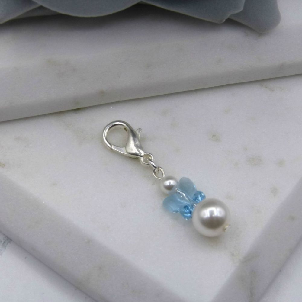 Something Blue Crystal Butterfly & Pearl Bouquet/Garter Charm