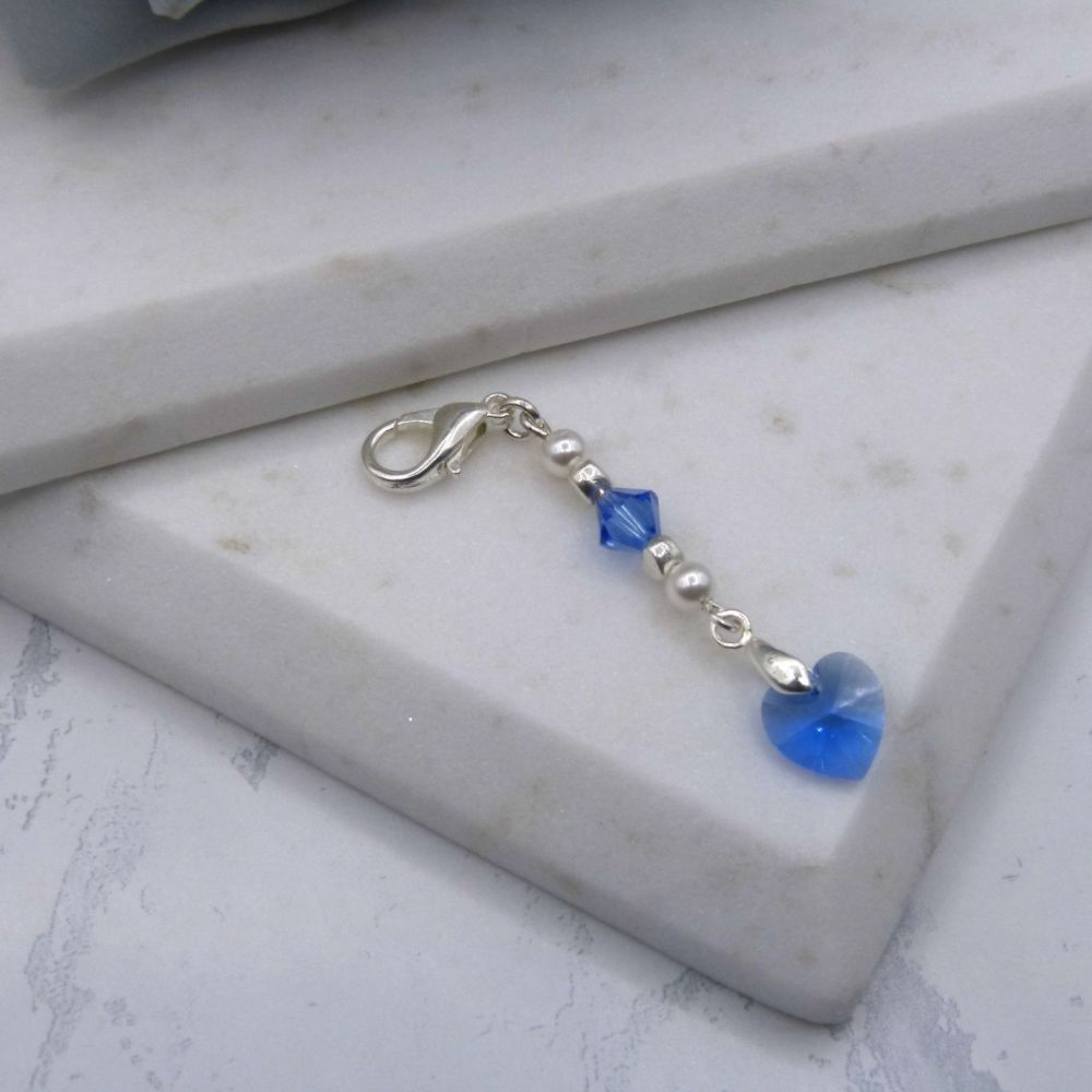 Something Blue Crystal Heart Garter/Bouquet Charm